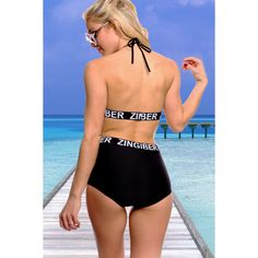 Black padded chest hi waist bottoms two piece swimsuit ($17) ❤ liked on Polyvore featuring swimwear, bikinis, blackhiwaist, 2 piece swim suits, padded bikinis, swimsuits bikinis, bathing suit swimwear and swimsuits two piece