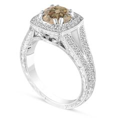 Fancy Champagne Brown Diamond Engagement Ring, Wedding Ring Vintage Antique Style Hand Engraved 14K White Gold Unique handmade