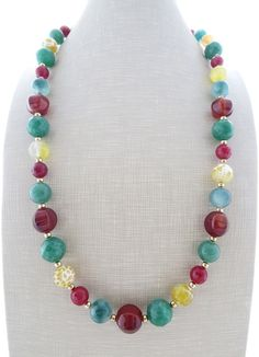 Multi gemstone necklace chunky necklace green jade by Sofiasbijoux