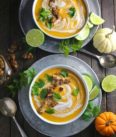Our Thai Coconut Curry Butternut Squash Soup is a delicious, easy #vegan first course for…