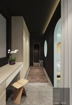 Beautiful combination of light white oak joinery with white drawer detailing. LOVE the dark walls and strip overhead lighting. Creates a very sophisticated mood. Walk In Wardrobe, Bedroom Wardrobe, Master Bedroom, Clinic Design, Luxury Closet, Dark Walls, Dream Closets, Home Deco, Home And Living