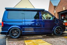 """Volkswagen T5.1 California on OEM 18"""" sportline rims; slammed photoshop rendering to show what the van will look like on B14 coilover suspension"""