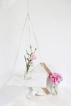 DIY Marble Hanging Shelf