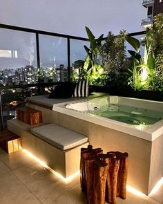 Jacuzzi Outdoor Hot Tubs, Hot Tub Patio, Deck Jacuzzi Ideas, Rooftop Terrace Design, Rooftop Patio, Spa Interior, Butterfly House, Backyard Garden Design, My Dream Home