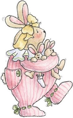 Maman lapin et ses petits- Picasa Albums Web Country Crafts, Country Art, Easter Bunny Pictures, Baby Shower Clipart, Copic Sketch, Bunny Art, Vintage Easter, Illustrations, Digi Stamps
