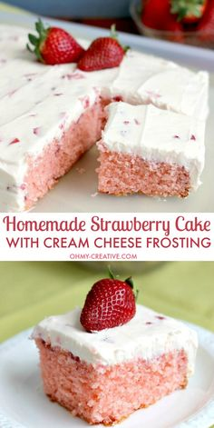Strawberry Cake with Whipped Cream Cheese Frosting - bursting with fresh strawberry flavor. A perfect dessert for any occasion spring or summer. : ohmycreative
