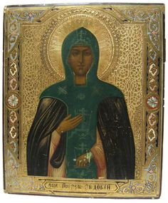 This 19th-century icon features Saint Evdokia a 2nd-century Christian who is known for creating a monastery which became a beacon for the sick or starving.