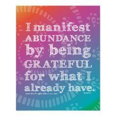 I Manifest Abundance By Being Grateful Affirmation Poster