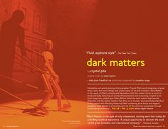 Canadian Stage 11.12 Season Brochure, Dark Matters. Photo by Dean Buscher.