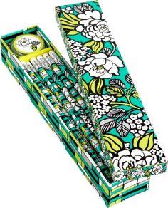 Vera Bradley Island Blooms Pencil Box - 10 Pencils and Sharpener