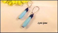 Long Sea Glass Earrings Super Long Teardrop Dangles by lyrisgems, $23.00