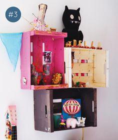 colorful crates shelves | estante de caixas de feira #decor #estante #crates
