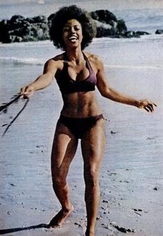 """Bern Nadette Stanis - Thelma of tv's """"Good Times"""" - having a good time on the beach, 1970s."""