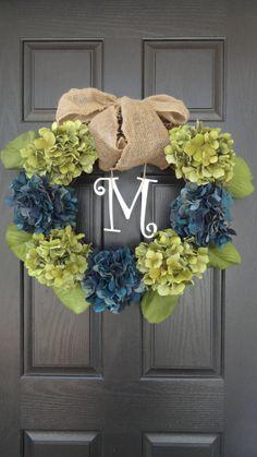 "24"" Year Round Green and Blue, Purple, or Brown Hydrangea Wreath, Summer, Wreath, Fall Wreath, Spring Wreath, With Initial Monogram. $52.00, via Etsy."