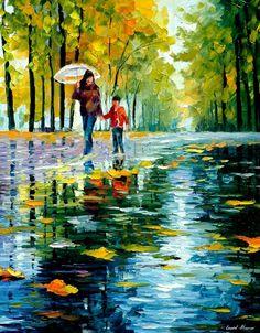 Autumn Park ~ artwork by Leonid Afremov Art Amour, Art Watercolor, Umbrella Art, Wow Art, Fine Art, Palette Knife, Beautiful Paintings, Painting Inspiration, Painting & Drawing