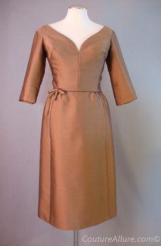 1960s OLEG CASSINI Bronze Silk