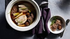 Japanese-style mushroom and leek broth with poached fish recipe : SBS Food