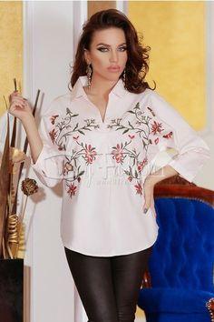 camasa alba cu imprimeu floral - Silvia Bravo ai stil Tunic Tops, Blouse, Long Sleeve, Floral, Sleeves, Women, Fashion, Embroidery, Blouse Band