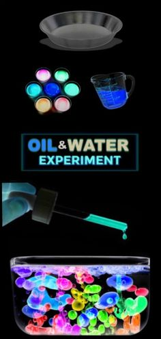 FUN SCIENCE FOR KIDS: Glow-in-the-Dark oil & water experiment glowinthedarkactivities scienceexperimentskids scienceforkids glowinthedarkexperiments oilandwaterexperiment activitiesforkids 111393790769069165 Preschool Science, Science For Kids, Science Activities, Activities For Kids, Fun Science Fair Projects, Science Projects For Preschoolers, Oil And Water Experiment, Water Experiments For Kids, Science Words