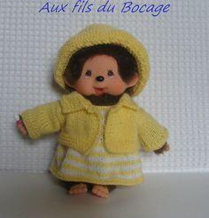 Habits Kiki 20 cm, ensemble jaune, veste, robe et chapeau. : Jeux, jouets par aux-fils-du-bocage