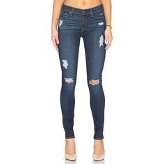 7 For All Mankind The Destroy Skinny Denim ($198) ❤ liked on Polyvore featuring jeans, distressed jeans, super distressed skinny jeans, blue jeans, destroyed jeans and ripped skinny jeans
