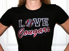 Love Hawks. Baseball Rhinestone and Glitter Bling - Ladies Fitted / Adult / Youth T-Shirt, All Sizes. $24.95, via Etsy.