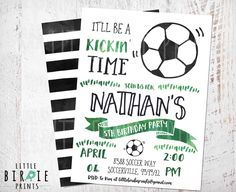 SOCCER INVITATION - SOCCER Birthday party invitation - Soccer birthday Invitation - Soccer party invitation - Watercolor Soccer invitation by littlebirdieprints on Etsy https://www.etsy.com/il-en/listing/467638109/soccer-invitation-soccer-birthday-party