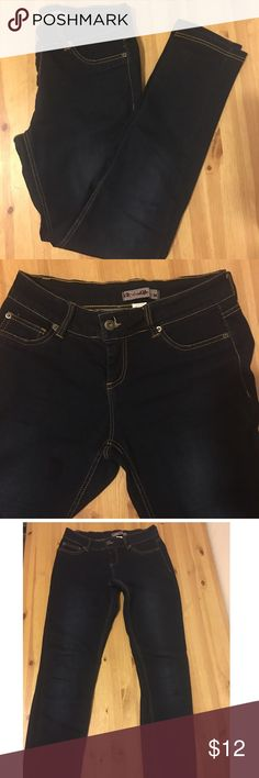 """3x$18 Sale! Straight Leg Jeggins Dark blue Jeggins. Material is on the thick side like regular jeans but super stretchy. Straight leg (not skinny) Mid waist, size 11. Great condition. Inseam is 30""""'.  Fits a comfortable 10 or 12. Max stretch at waist is 18"""". Max stretch at hips is 26"""". Urban Escapes Jeans"""
