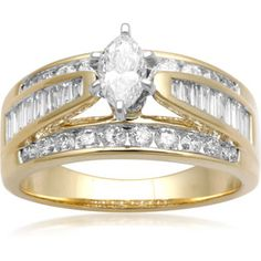 Carat T. Diamond Marquise Yellow Gold Engagement Ring, Size 7 only Wedding Sets, Wedding Rings, Marquise Diamond, 2 Carat, Diamond Jewelry, Jewelry Watches, Fine Jewelry, Engagement Rings, Buy 1