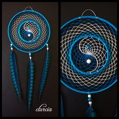 Le chouchou de ma boutique https://www.etsy.com/fr/listing/550769495/attrape-reves-yin-yang-turquoise-et