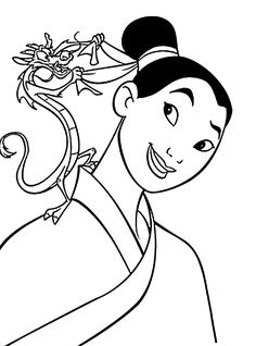 Mulan coloring pages for kids, printable free