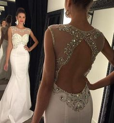 new arrival Sexy white backless Prom Dress with appliques floor length Prom Dress lace Prom Dress with beaded