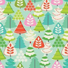 Tinsel - Christmas Trees Blue - Maude Asbury for Blend Fabrics- 1 yard, Add'l Avail. $9.50, via Etsy.