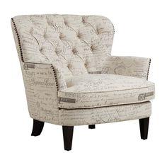 Lark Manor Timothee Script Upholstered Arm Chair