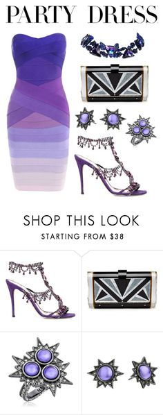 """""""#PolyPresents: Party Dresses"""" by ailatanami ❤ liked on Polyvore featuring Marchesa, Hervé Léger, Edie Parker, Rebecca Minkoff, Christian Lacroix, contestentry and polyPresents"""
