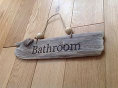 Driftwood wood burned pyrography bathroom sign rustic home decor