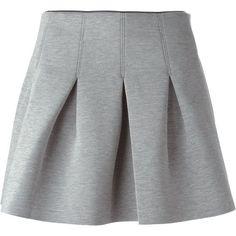 T By Alexander Wang Scuba Neoprene Skirt ($319) ❤ liked on Polyvore featuring skirts, bottoms, saias, faldas, grey, gray skirt, grey skirt, t by alexander wang skirt, box pleat skirt and short skirts