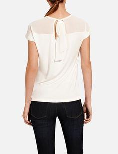 The Limited - Sheer Shoulder Tie Top in black