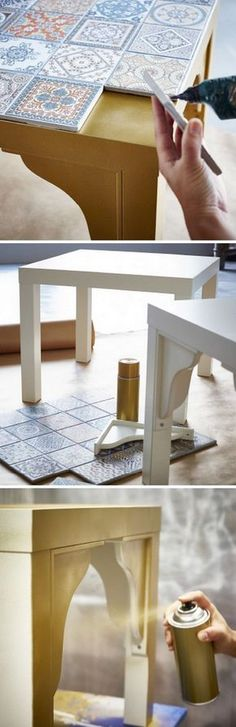 Could be cool with new grey, black and white tiles on old coffee tables or end tables!
