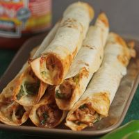Baked Chicken and Spinach Flautas  181 Calories 9g Fat 10g Carbs 14g Protein