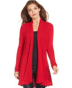 Style&co. Marled-Cable-Knit Hooded Cardigan I like both the red ...