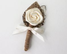 Ivory Flower Boutonniere Natural Eco Friendly Burlap by BridalLife, $6.00