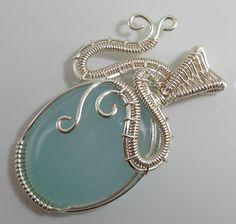 Aqua Chalcedony Wire Wrapped Pendant