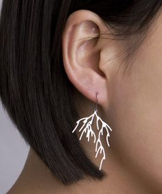 Stainless Steel Branch 3D-Printed Earrings