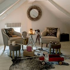 Country bedroom pictures and photos for your next decorating project. Find inspiration from of beautiful living room images Living Room Images, Loft Conversion, Interior, Bedroom Loft, Bedroom With Sitting Area, Bedroom Pictures, Thatched Cottage, Loft Spaces, Beautiful Living Rooms