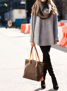 oversized sweater + fur cowl neck by betsy