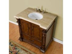 FEATURES : Counter TopTravertine White Ceramic Undermount Sink Pre-drilled for Widespread Faucet Material : Natural Stone Top, Solid Wood Structure & CARB Certified Panels Number of Sink :Single Sink Dimensions : X X Bathroom Vanity, Bathroom Inspiration, Vanity, Vanity Sink, Bathroom Vanity Tops, Luxury Bathroom Vanity, Sink, Bathroom Sink, Bathroom