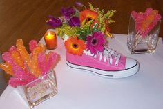 Shoe Centerpiece Ideas.  #womensministry #centerpieces #eventplanning