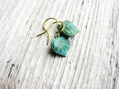 Small Leaf Earrings Green Leaves Tiny Dangles by KateeMarie