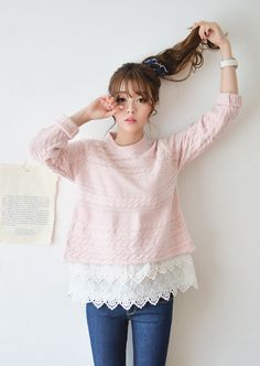 JUSTONE - Lace-Hem Cable-Knit Top #knittop #top #lace #lacehamtop #cableknittop
